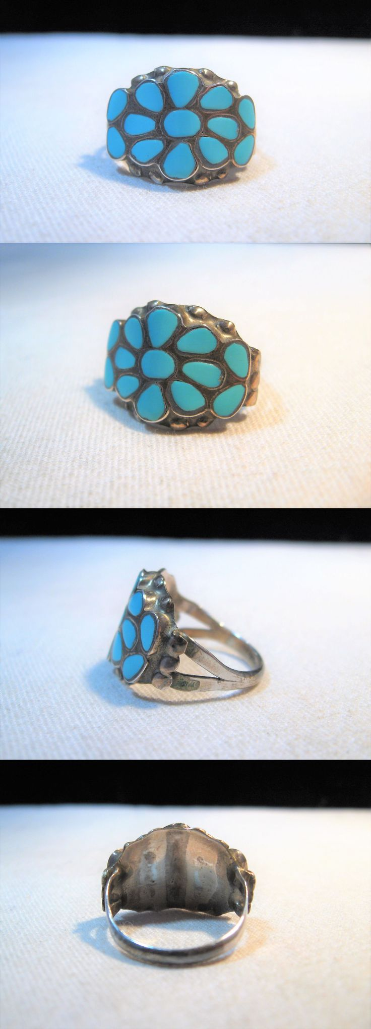 Native American pre-1935 165137: Estate Sterling Silver Dishta Inlay Turquoise Ring Size 7 K453 -> BUY IT NOW ONLY: $299 on eBay!