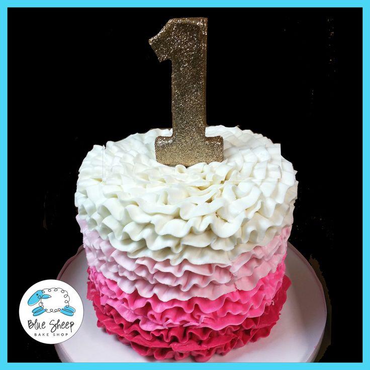 Pink Ombre Ruffle Smash Cake NJ – Blue Sheep Bake Shop