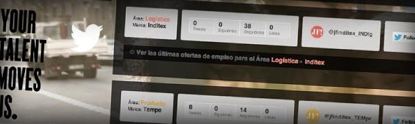 El grupo Inditex (ZARA, Pull & Bear, Massimo Dutti, Bershka, Stradivarius, Oysho, ZARA HOME, Uterqüe, Tempe) puso hace algún tiempo en marcha www.joinfashioninditex.com, una web donde centralizar toda su gestión de RRHH.  Creamos una aplicación en Twitter que permite a los usuarios recibir en su Timeline las ofertas de empleo de Inditex que les interesan. También diseñamos un microsite donde los usuarios puedan acceder a esa aplicación y  recibir ofertas de empleo del Grupo Inditex