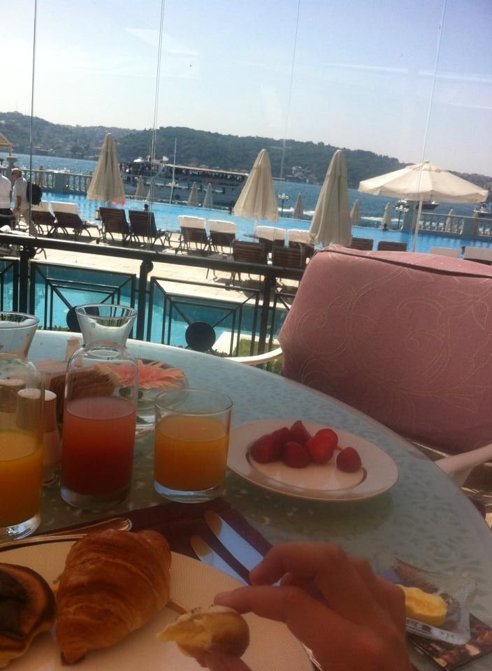 An amazing breakfast I shared at Ciragan Palace while enjoying the view of Asia across the Bosphorus Sea