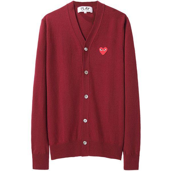 Comme Des Garçons Play Men's Emblem Cardigan (€355) ❤ liked on Polyvore featuring men's fashion, men's clothing, men's sweaters, cardigans, sweaters, men, jackets, mens cardigan sweaters, mens wool sweaters and mens wool cardigan sweaters