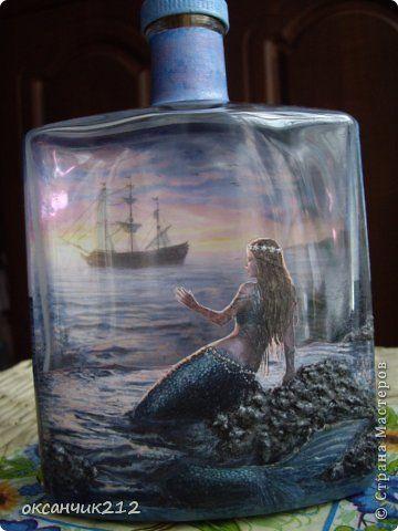 Декор предметов Декупаж Декупажные бутылочки Бутылки стеклянные фото 17