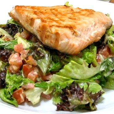 Grilled Salmon Fillet with Italian Dressing Mixed Greens Salad (Atkins Diet Phase 1 Recipe) | Diet Plan 101
