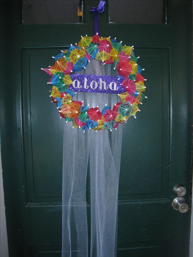 Luau Bridal Shower - Paper umbrella wreath with tulle.