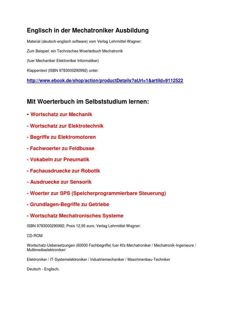 Mit Woerterbuch im Selbststudium lernen: englisch in der Mechatroniker-Ausbildung by Markus Wagner - issuu
