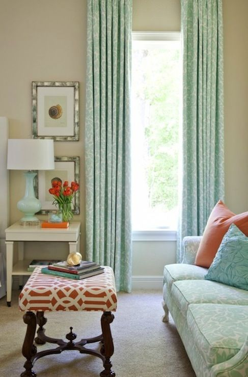 Tan, turquoise and coral: Colors Combos, Curtains, Decor Ideas, Living Rooms, Bedrooms Design, Traditional Bedrooms, Colors Palettes, Colors Schemes, House