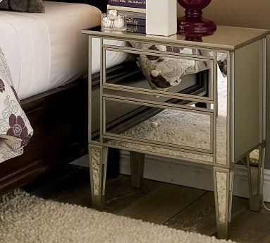 Mirrored Nightstands + Purple/Grey damask=Dream Bedroom!!!!!