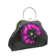Sacs à main & fermoir métallique en satin à fleur, style vintage pour femme, rose & noir 1735