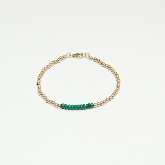 Minimalist Emerald Gold Bracelet by ILoveUnconditionally on Etsy