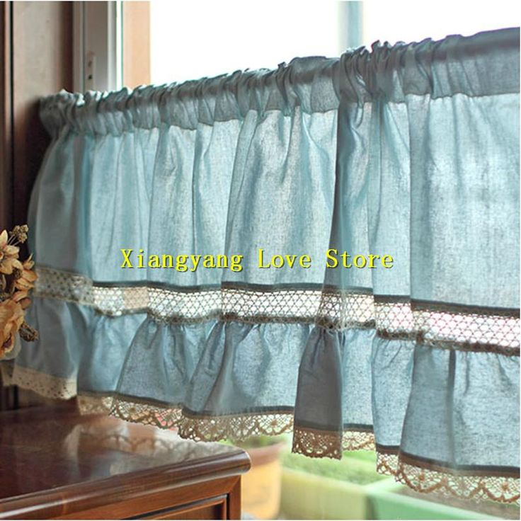 [Visit To Buy] Blue Kitchen Curtains American Style Pure Color Lace Linen  Small Short