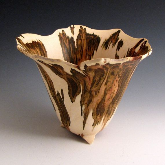 Artistic Natural Edge Maple Burl Wood Turned Bowl The