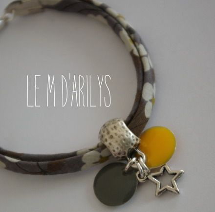 Bracelet liberty mitsi gris et moutarde - pastilles assorties