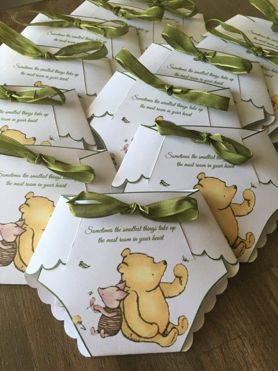 Custom Winnie the Pooh, Mickey Mouse, Minnie Mouse Baby Shower Diaper Invitations
