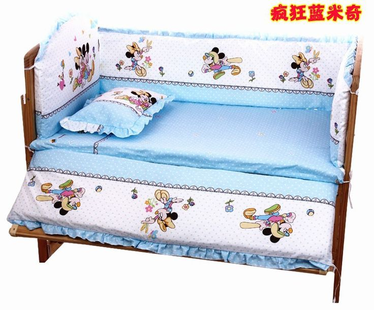 Promotion! 7pcs Mickey Mouse Baby Cot Bed,Wholesale and Retail Children Cot Sets (bumper+duvet+matress+pillow)