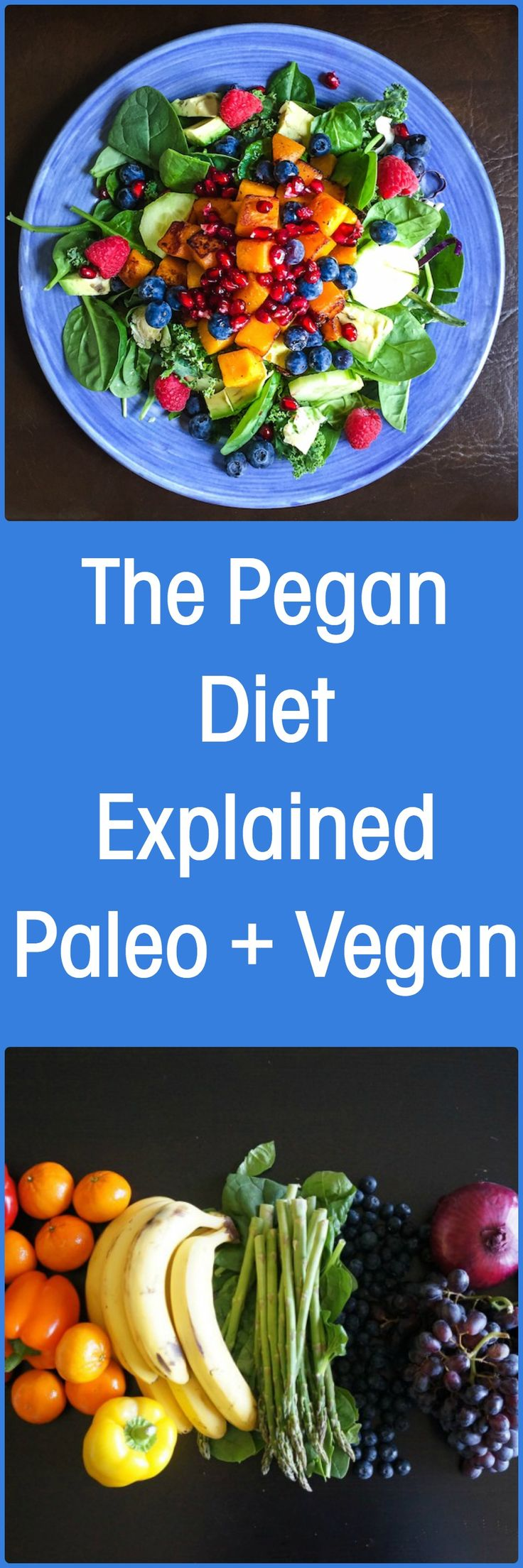 The Pegan Diet Explained = Paleo + Vegan (in my case, I eat mixture of Paleo & Mediterranean diet. I'm vegetarian, not vegan. BUT if I consume animal products such as dairy, must be free-range, cage-free, grass-fed. & fish must be wild. On holidays, I eat whatever I want (desserts, etc) but on daily basis I avoid processed foods & sugar. -Mari