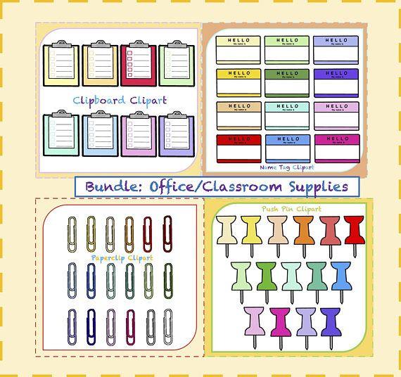 Bundle! Office Clipart, Classroom Clipart, Pushpin Clipart, Tag Clipart, Paperclip Clipart, Clipboard Clipart, Name Tag Clipart, Clipart png