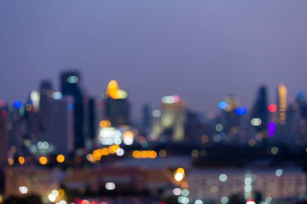 city blurred bokeh lights night view