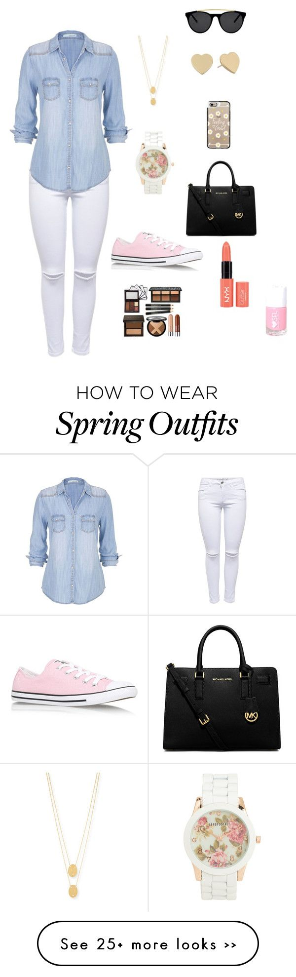 perfect shopping outfit by rita-moo on Polyvore featuring Lipsy, maurices, Smoke Mirrors, Casetify, Jennifer Zeuner, Kate Spade, Aéropostale, MICHAEL Michael Kors and Converse