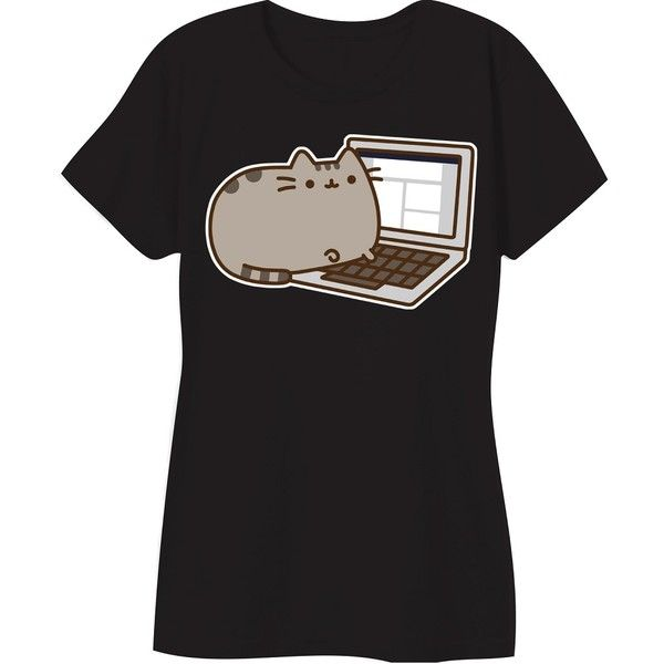Pusheen The Cat Laptop Blogger Licensed Women's Junior T-shirt Black ❤ liked on Polyvore featuring tops, t-shirts, cotton tee, comic book t shirts, t shirt, comic book and comic t shirts