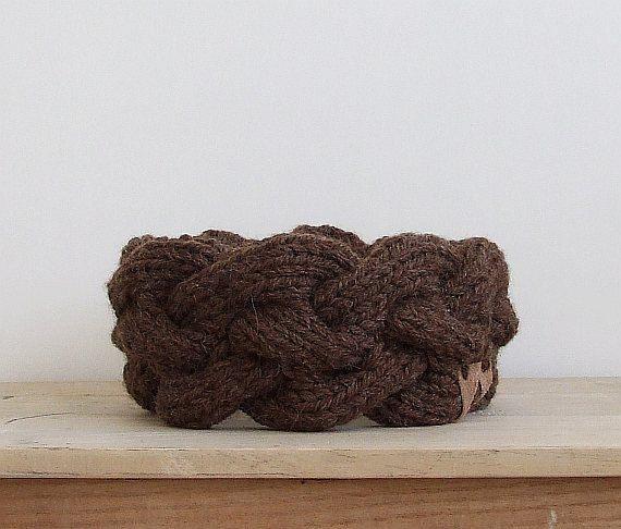 Wool Knit Headband, Woman Headband, Brown Ear Warmer, Cable Knit Earwarmer, Hairband, Headwrap, Womens Gift, College Student Gift by AJatelier on Etsy