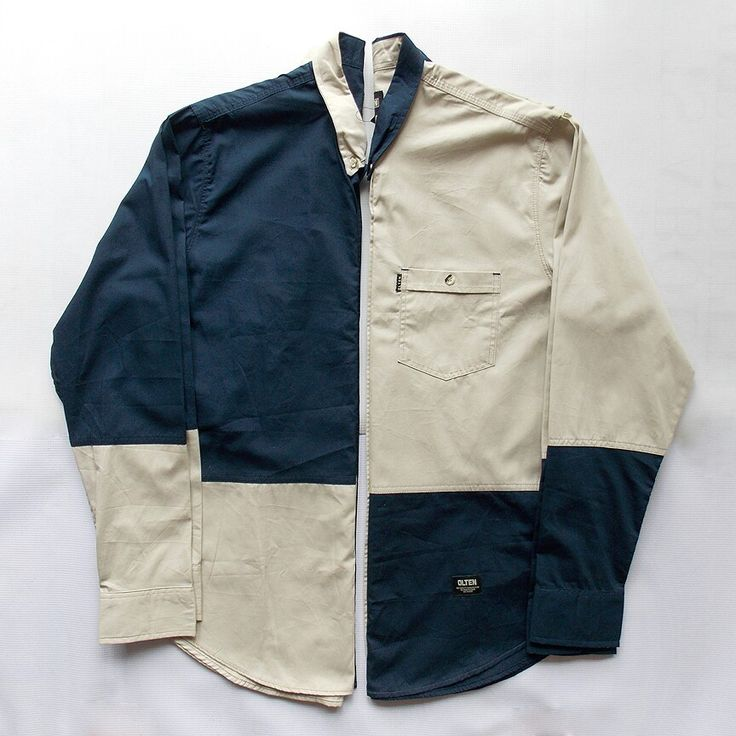 Two tone long shirt blue navy and cream Olten - http://bit.ly/rbck2015