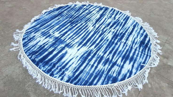 Shibori Tie dyed Round Beach Throw Yoga Mat with Tassel