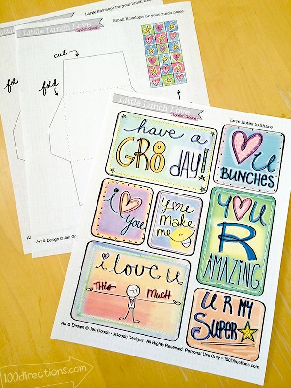 FREE Lunch Love Notes Printable from 100directions