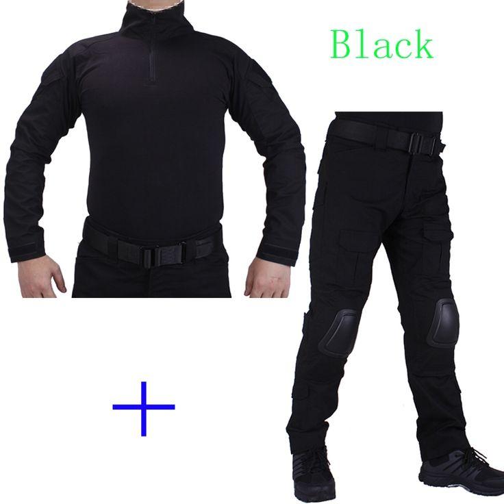 56.78$  Watch here - http://aligcr.worldwells.pw/go.php?t=32751336229 - Hunting Camouflage BDU Black Combat uniform shirt met Broek en Elbow & KneePads militaire cosplay uniform ghilliekostuum jacht 56.78$