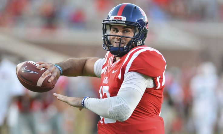 Oct 29, 2016; Oxford, MS, USA; Mississippi Rebels quarterback Chad Kelly (10) warms up prior to the game against the Auburn Tigers at Vaught-Hemingway Stadium. Mandatory Credit: Matt Bush-USA TODAY Sports