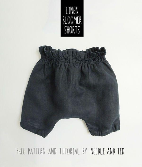 bloomer short bebe Patron gratuit : un short bloomer en lin pour bébé