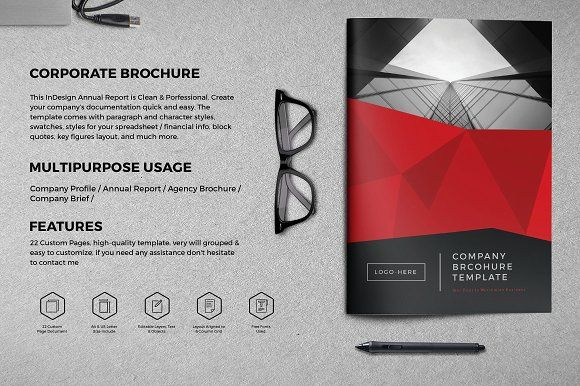 Company Brochure 22 Page by BrochuresFactory on @creativemarket
