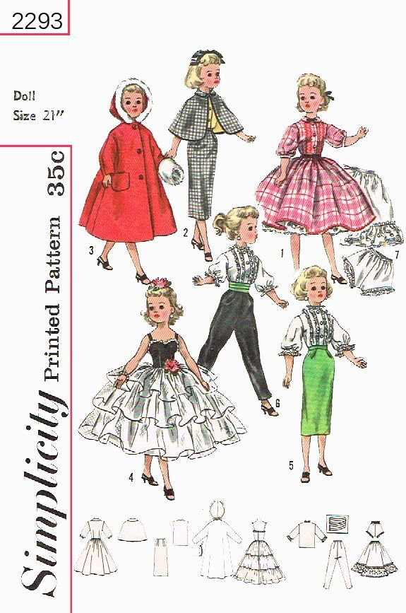 31 best Vintage doll clothes sewing patterns images on Pinterest ...
