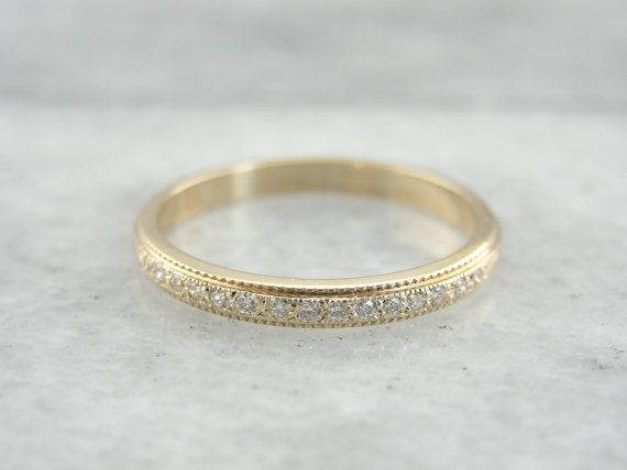 Rich Gold And Textured Milgrain Diamond Wedding Band by MSJewelers