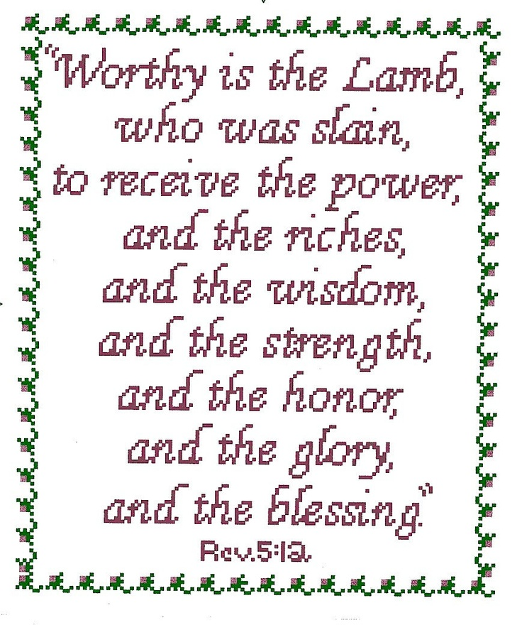 Worthy is the Lamb Bible Verse  Cross Stitch by flowergardens, $3.00