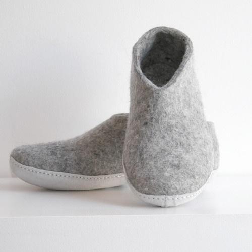 Glerups tøfler, grå, str 38, vanlig såle (ikke gummi)