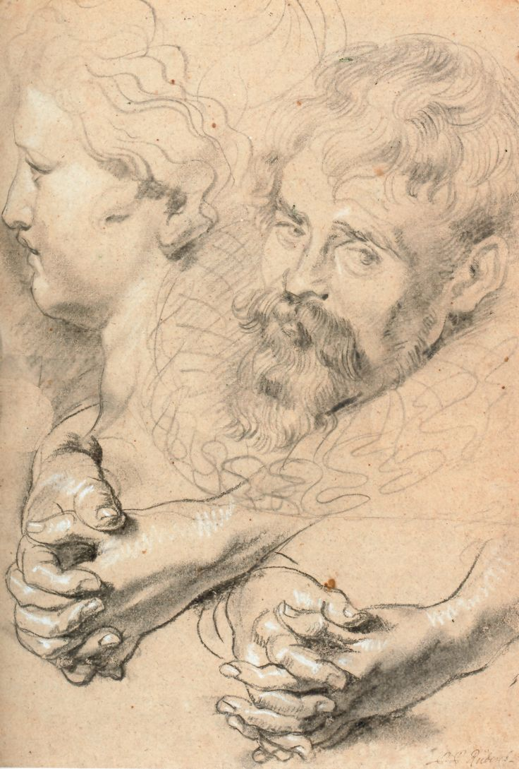Rubens, 1610, Albertina Vienna, study of hands and heads
