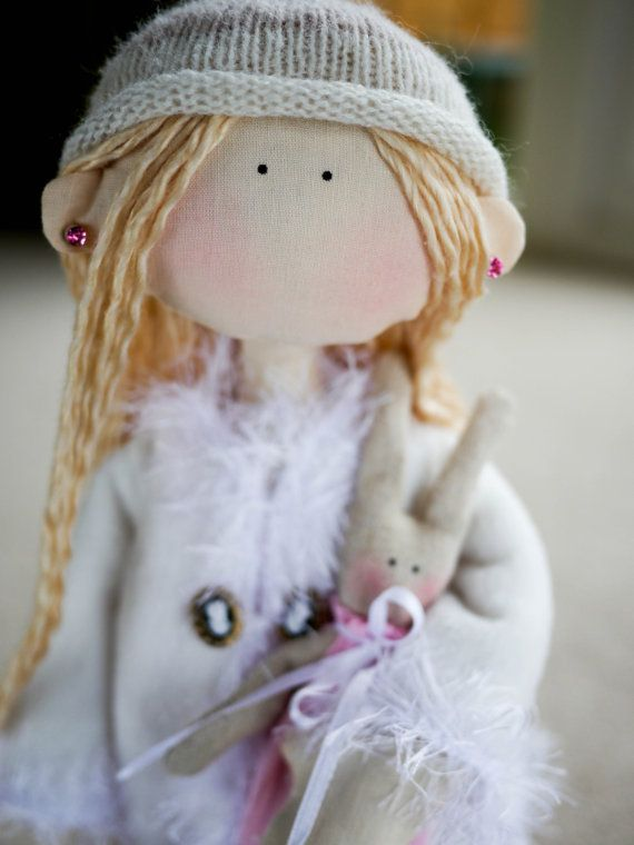 Rag Doll Bella and Her Rabbit, Cloth Doll, Home Decor Unique Keepsake, UK