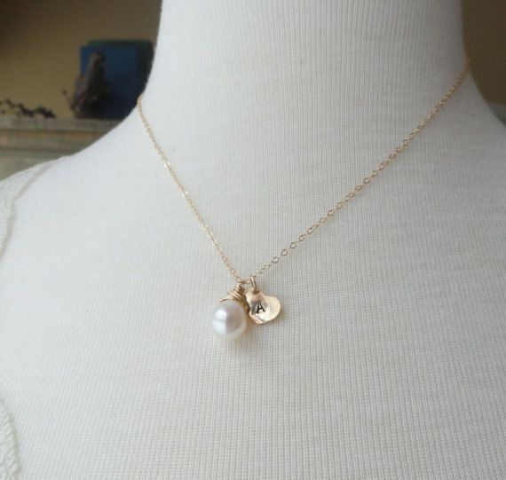 Bridesmaid gift set of THREE pearl necklaces with by OtisBWeddings, $86.00