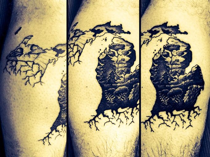 Michigan Tattoo Black And Grey Shading Michigantattoo Tattoo Puremichigan Michigan Tattooartist Roots Stencil Michigan Tattoos Roots Tattoo Tattoos