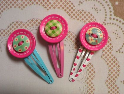 Wooden buttons Hairclips -  Unique Desing