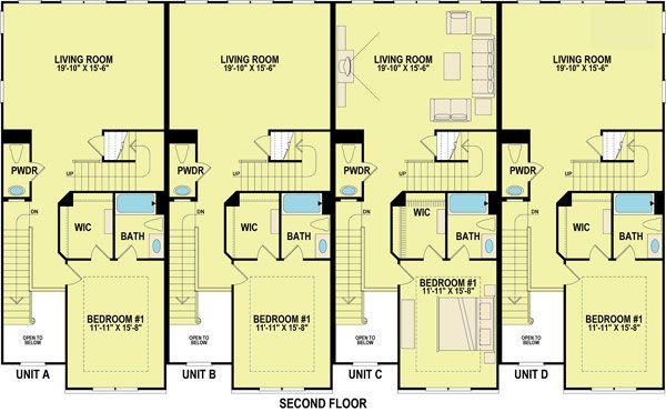 Plan Id Chp 26941 Coolhouseplans Com House Plans Duplex Floor Plans Town House Floor Plan