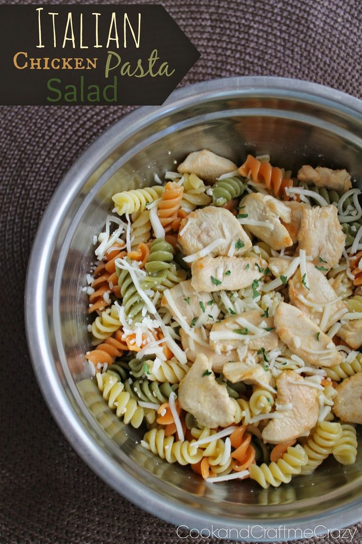 Italian Chicken Pasta Salad- only 4 ingredients! Make it as simple or as crazy as you want! PERFECT for BBQ's! http://cookandcraftmecrazy.blogspot.com/2014/05/italian-chicken-pasta-salad.html