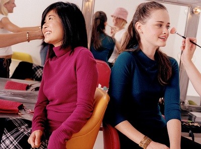 Keiko Agena and Alexis Bledel - behind the scenes