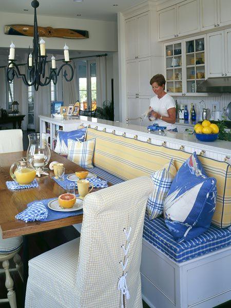 white blue yellow nautical style kitchen