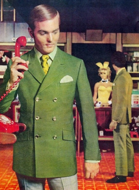 Every time Clayton answered the hotline at the Playboy mansion, he made sure to pose suggestively in his sweet avocado green double breasted blazer.