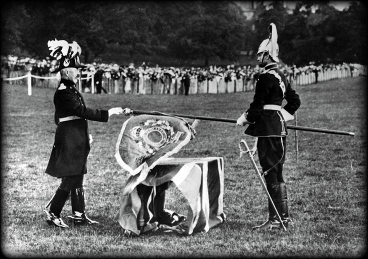 1910 and the Duke of Devonshire presents the Derbyshire Yeomanry with a new Guidon