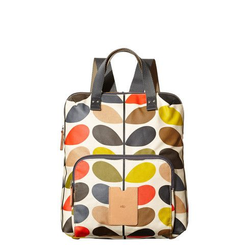 Stylish and preppy? Practical and fresh?  Whatever way you look at it, this Orla Kiely Backpack Tote in the classic multi stem print is just the bag you need for a busy day!  Part of the Orla Kiely SS15 Etc range of handbags.  Orla Kiely Bags | Classic Multi Stem Backpack Tote - By Cadeaux - Cadeaux.ie