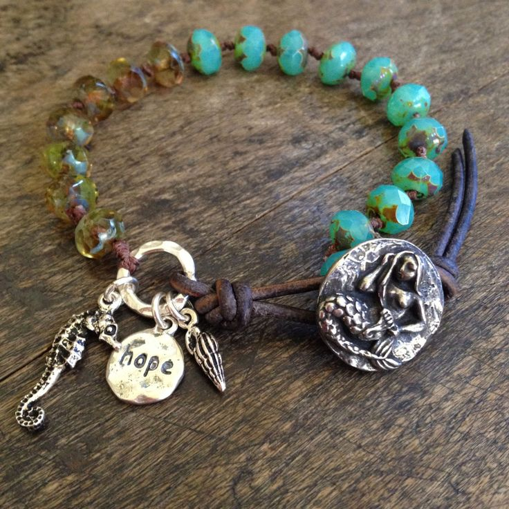 Mermaid Knotted Leather Wrap Bracelet Hope by TwoSilverSisters
