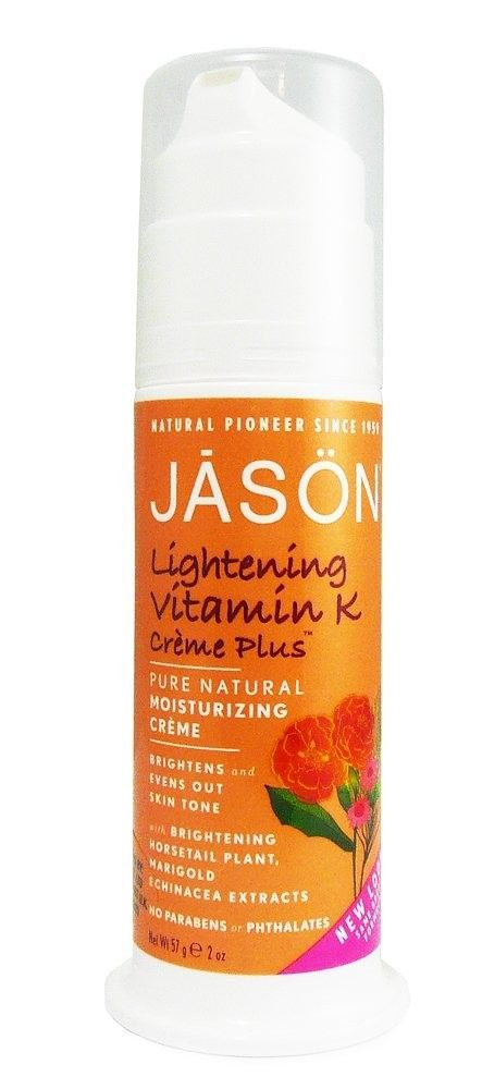 Jason Vitamin K Plus Face Cream - Vitamin K Creme Plus with Horsetail Extract, Marigold and Echinacea. Enriched with Horsetail Extract, Marigold and Echinacea, this creme helps to minimize the appearance of broken blood vessels and bruises, tone down redness and lighten under eye circles. Hydrates and moisturizes dry skin, leaving skin soft and smooth. http://www.organicglow.co.uk/moisturisng-creams/117-jason-vitamin-k-plus-face-cream.html