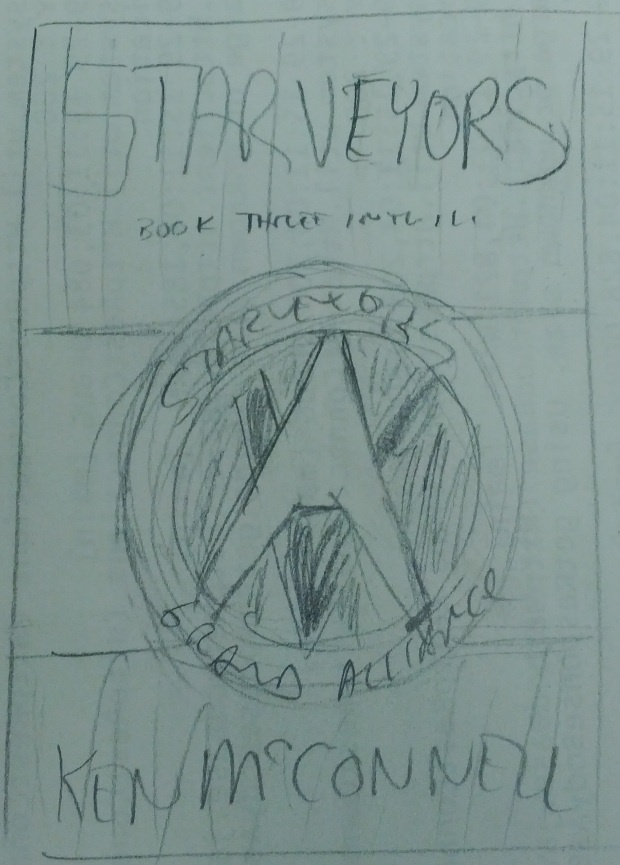 The first sketch I have drawn of the Starveyors novel cover art.